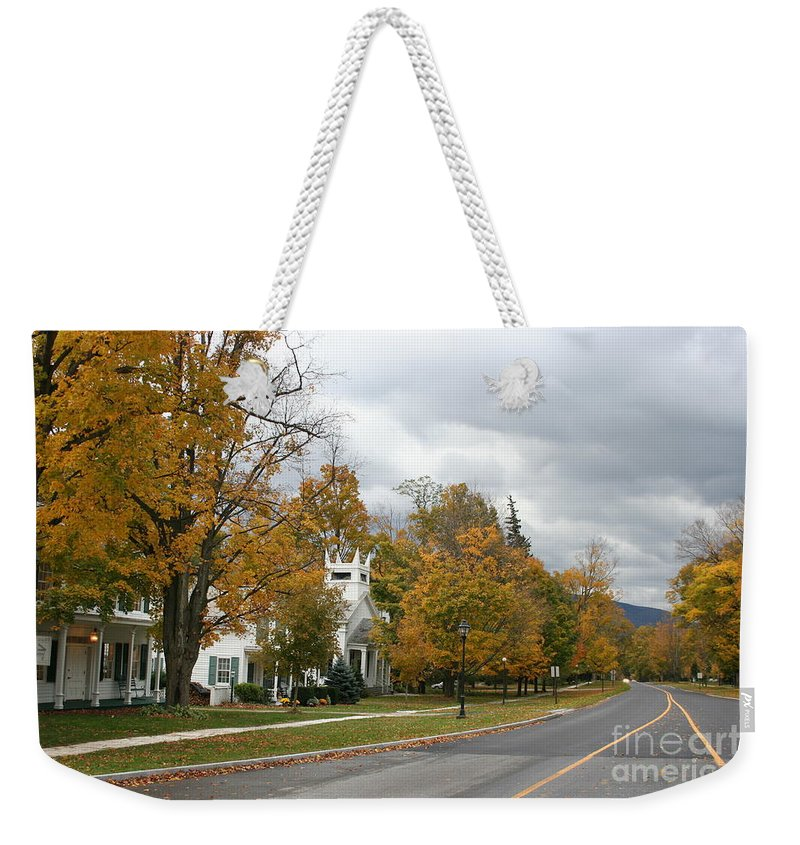 Indian Summer Weekender Tote Bag featuring the photograph Autumn Trees At The Roadside by Christiane Schulze Art And Photography