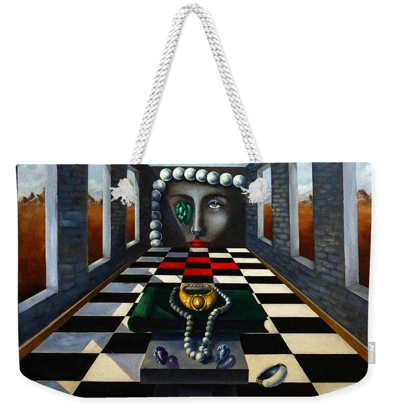 Surreal Landscape Weekender Tote Bag featuring the painting Family Jewels by Valerie Vescovi