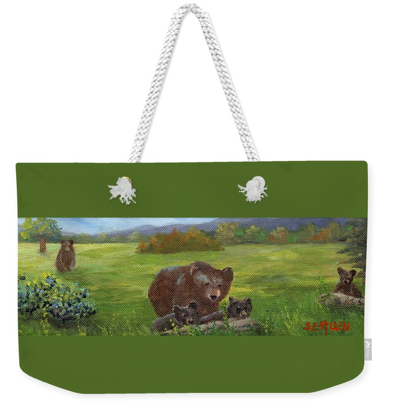 Black Bears Weekender Tote Bag featuring the painting Family Outing by Sharon E Allen