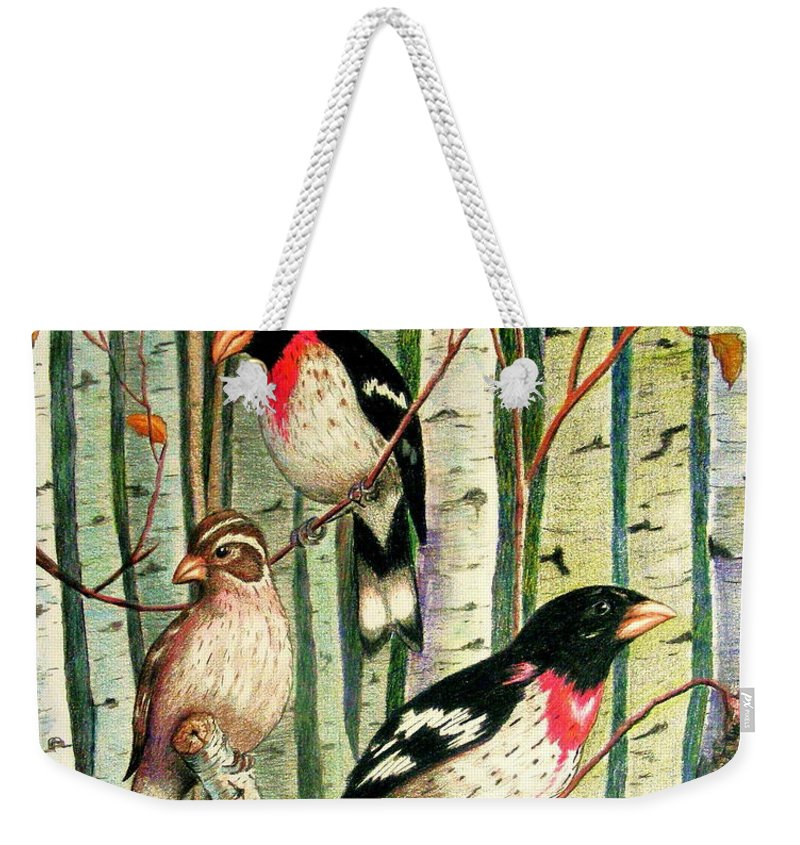 Birds Weekender Tote Bag featuring the drawing Family Trio by Marilyn Smith