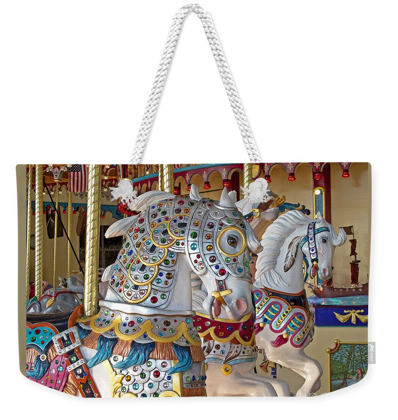 Carousel Weekender Tote Bag featuring the photograph Fanciful Carousel Ponies by Ann Horn