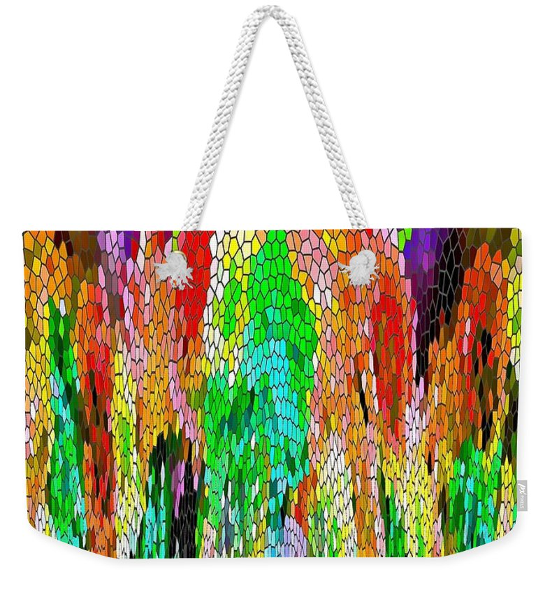 Colors Weekender Tote Bag featuring the painting Fanciful Colors Abstract Mosaic by Saundra Myles
