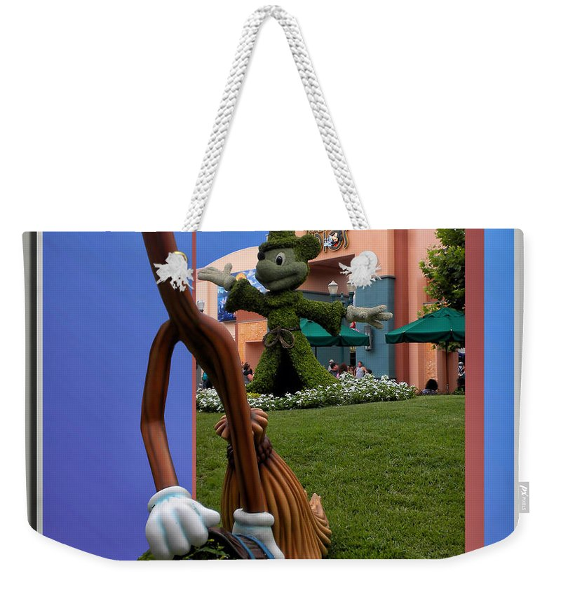 Broom Weekender Tote Bag featuring the photograph Fantasia Mickey And Broom Floral Walt Disney World Hollywood Studios by Thomas Woolworth