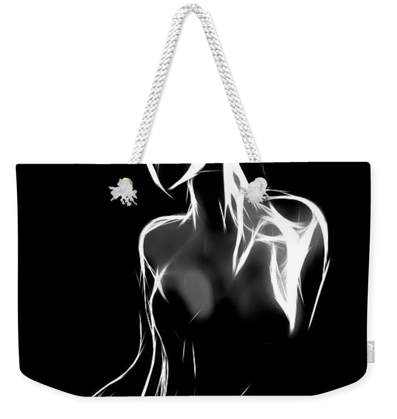 Female Girl Woman Lingerie Boobs Tits Nude Naked Curves Sensual Black White Erotic Seduction Desire Expressionism Weekender Tote Bag featuring the painting Fantastic Curves by Steve K