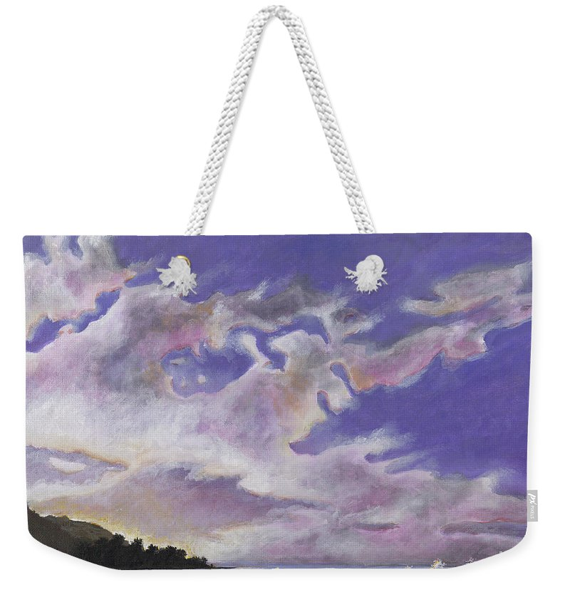 Landscape Weekender Tote Bag featuring the painting Fantastic Sunset North Shore Oahu Hawaii by Carlene Salazar