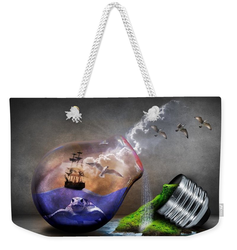 Light Weekender Tote Bag featuring the digital art Fantasy Bulb by FL collection