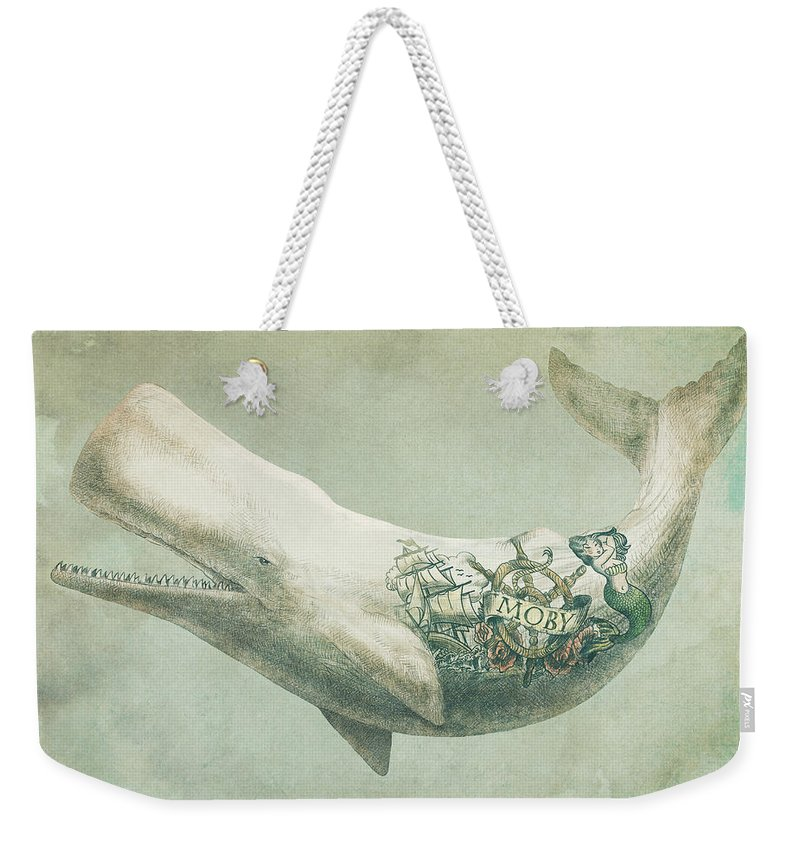Whale Weekender Tote Bag featuring the drawing Far and Wide by Eric Fan