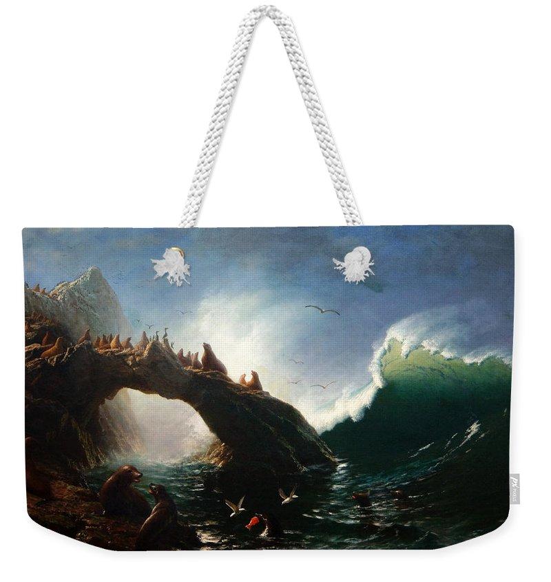 Albert Bierstadt Weekender Tote Bag featuring the painting Farallon Island by Albert Bierstadt