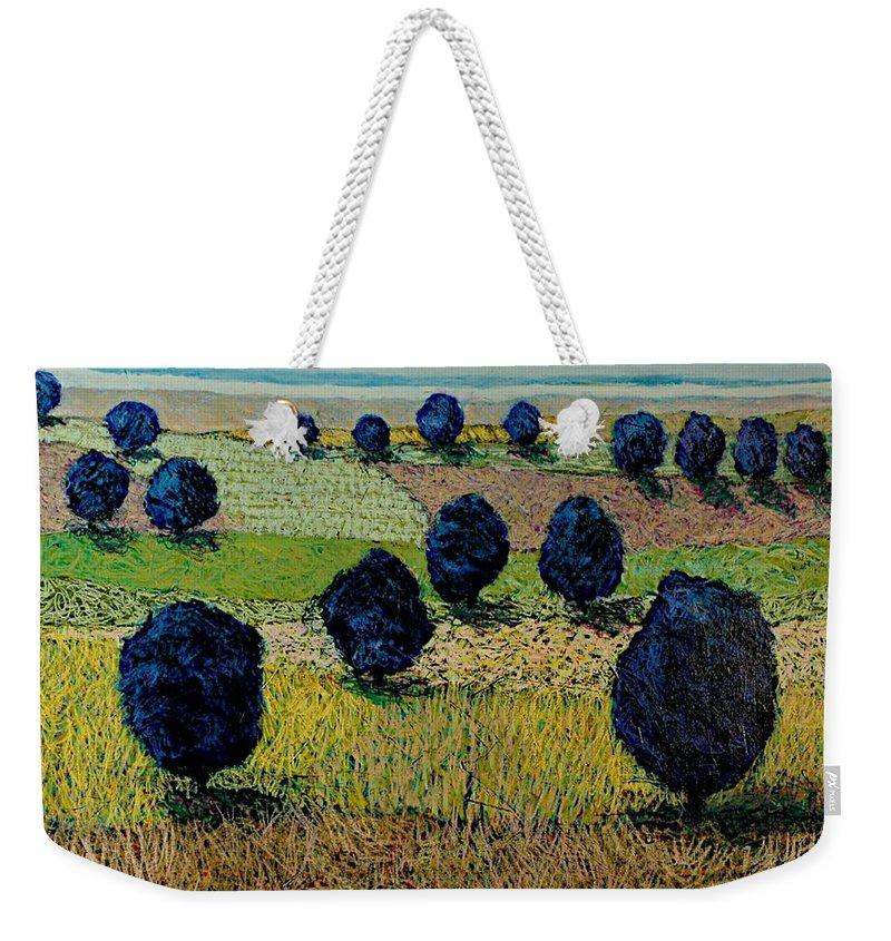 Landscape Weekender Tote Bag featuring the painting Faraway Field by Allan P Friedlander