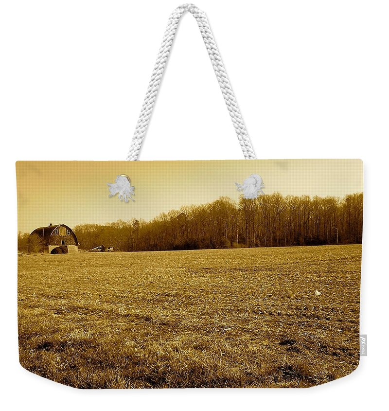 Farm Weekender Tote Bag featuring the photograph Farm Field With Old Barn In Sepia by Chris W Photography AKA Christian Wilson