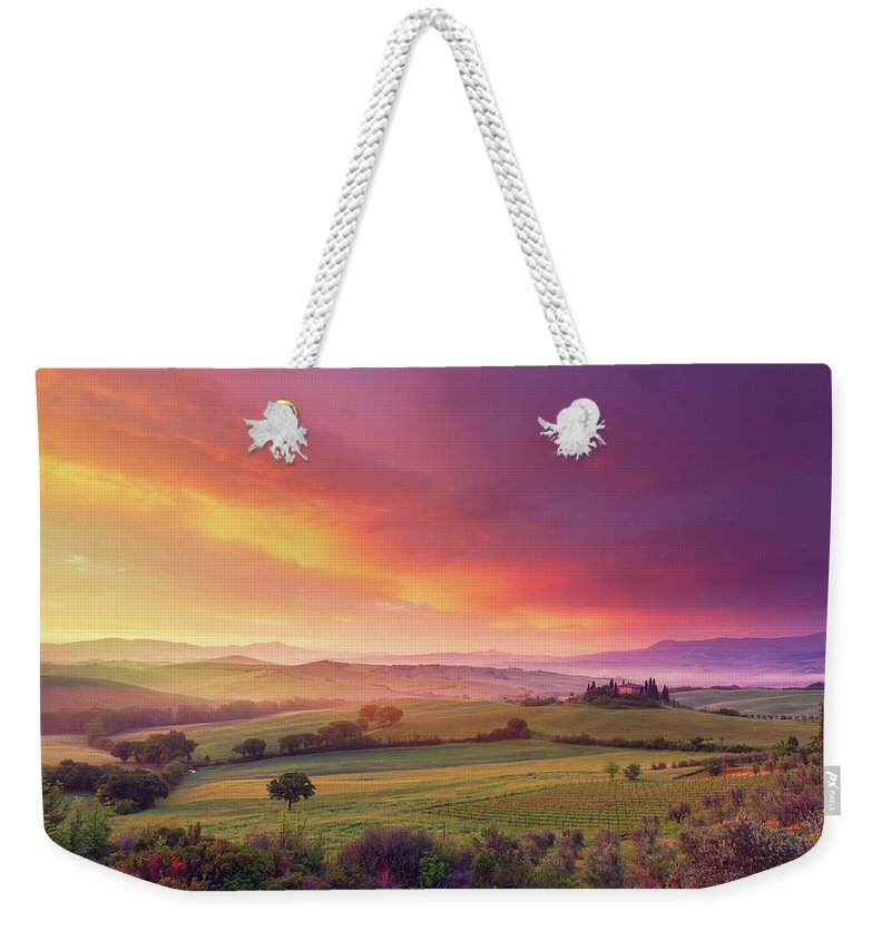 Scenics Weekender Tote Bag featuring the photograph Farm In Tuscany At Dawn by Mammuth