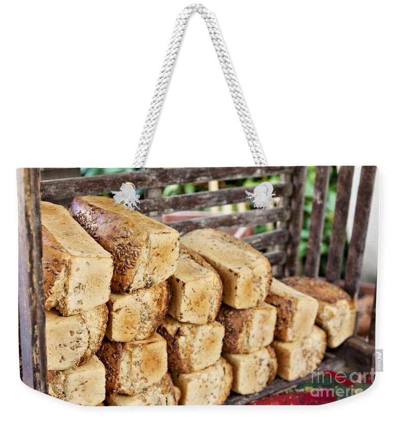 Market Weekender Tote Bag featuring the photograph Farmers Market Bread by Sophie McAulay
