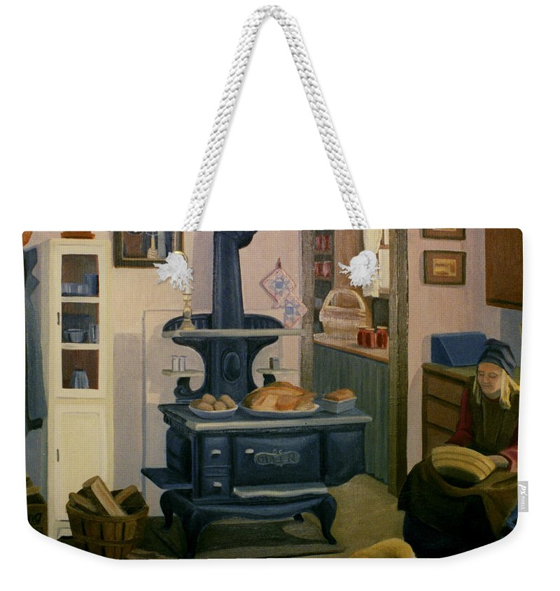 Farm Weekender Tote Bag featuring the painting Farmhouse In Autumn 1990 by Nancy Griswold