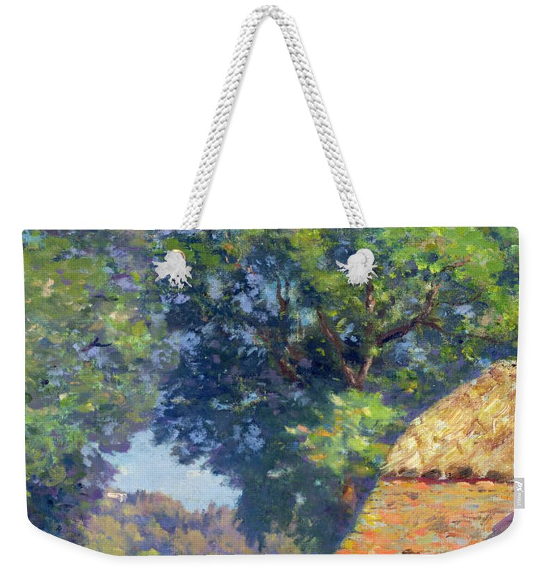 Fence Weekender Tote Bag featuring the painting Farmyard With Poultry by Gabriel Edouard Thurner