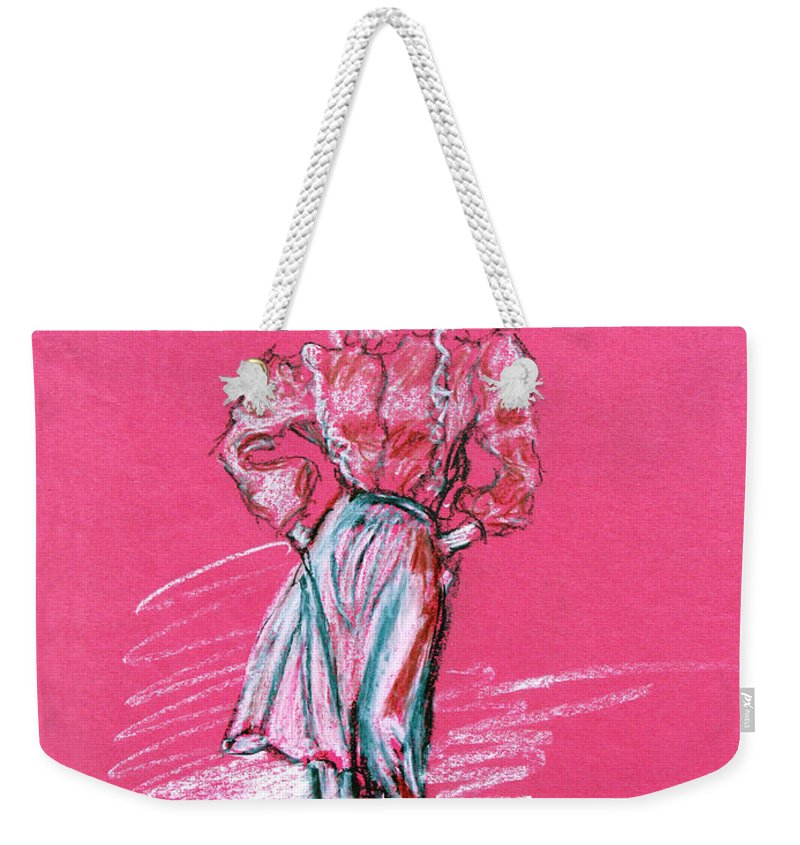Fashion Weekender Tote Bag featuring the pastel Fashion Figure by Tom Conway