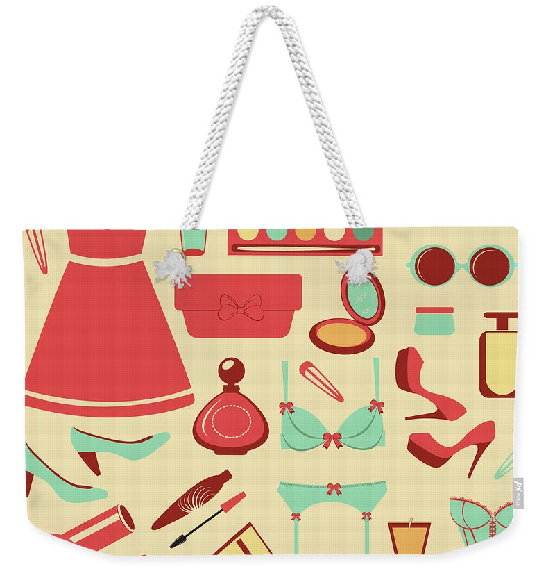 Swimwear Weekender Tote Bag featuring the photograph Fashion Items Set by Olillia