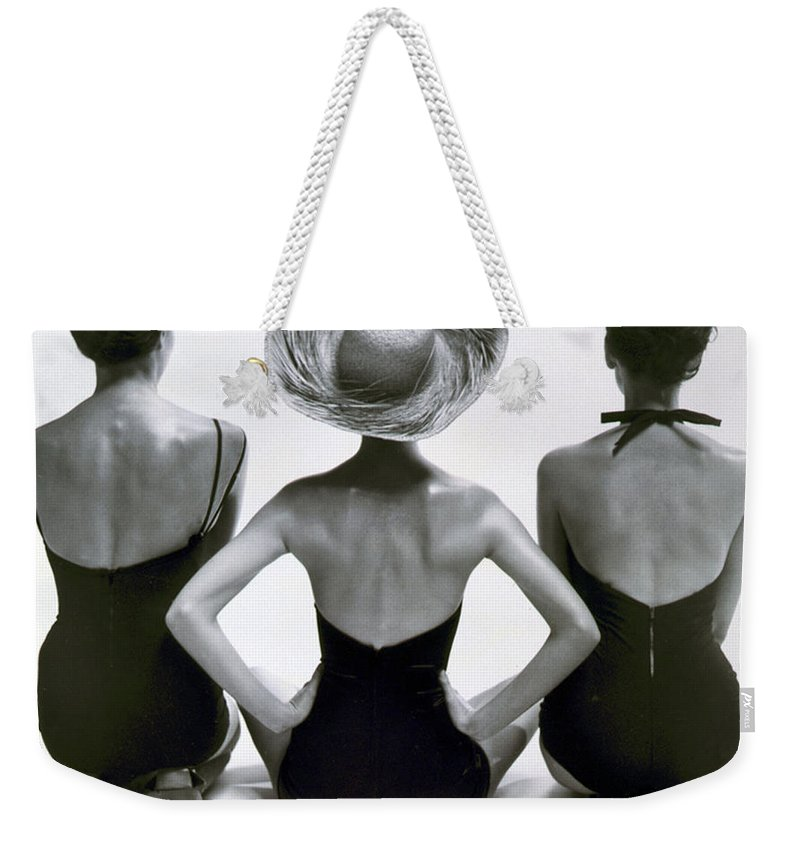 Fashion Weekender Tote Bag featuring the photograph Fashion Models In Swim Suits, 1950 by Science Source