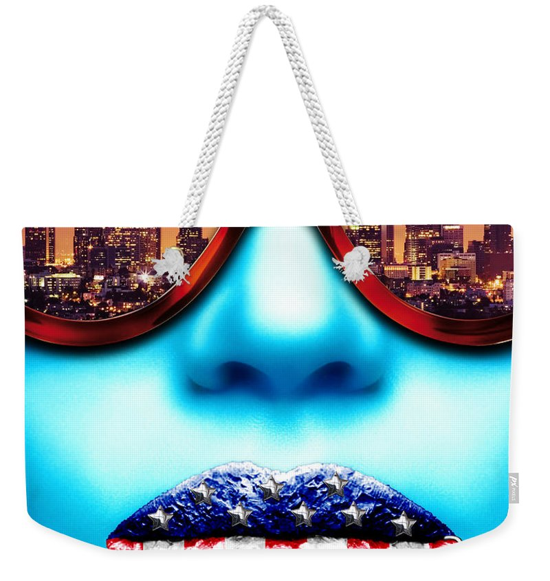 Face Weekender Tote Bag featuring the digital art Fashionista Los Angeles Silver by Jan Raphael