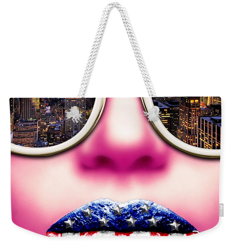 Face Weekender Tote Bag featuring the digital art Fashionista New York Pink by Jan Raphael