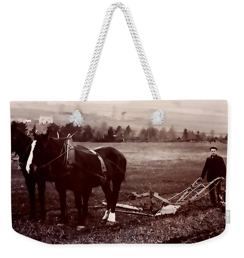 Vintage Weekender Tote Bag featuring the photograph Father And Son by Image Takers Photography LLC