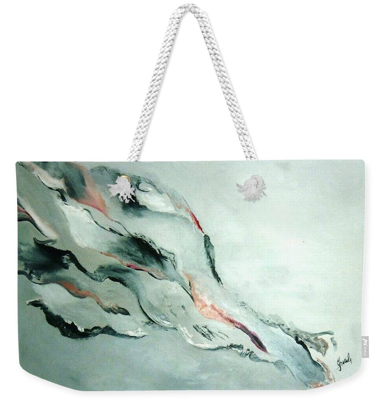 Abstract Clouds Weekender Tote Bag featuring the painting Father-part 2 by Graciela Castro