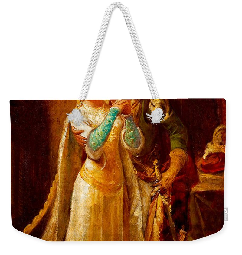 Pedro Americo Weekender Tote Bag featuring the digital art Faust And Gretchen by Pedro Americo