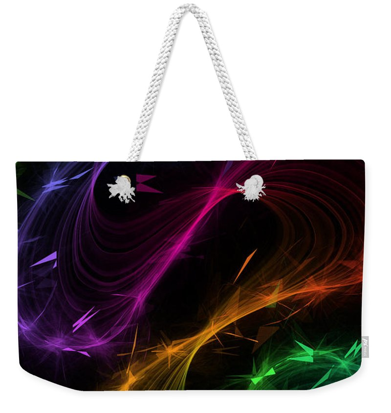 Fractal Abstract Weekender Tote Bag featuring the digital art Fawkes A Fractal Abstract by Ann Garrett