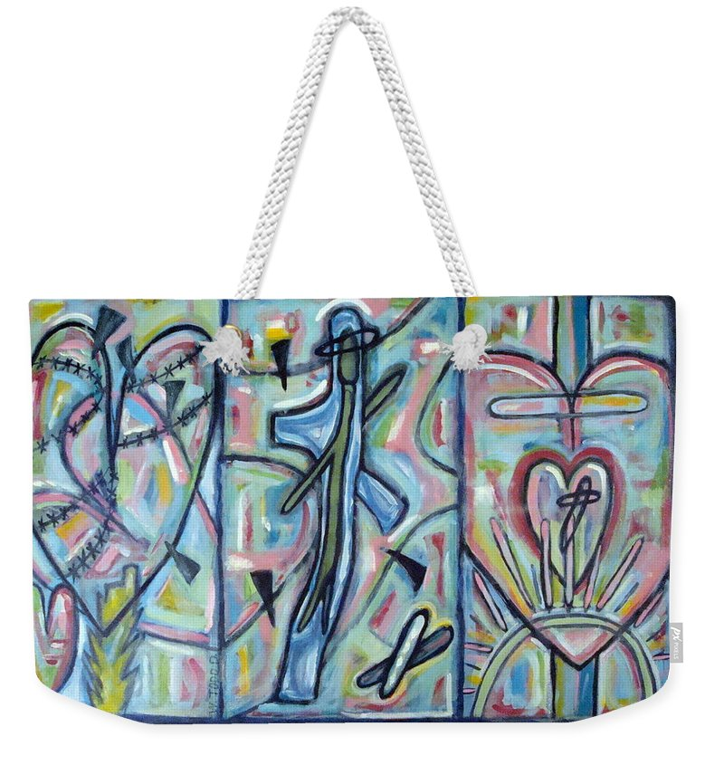 Cross Weekender Tote Bag featuring the painting Fear Salvation And The Release Of Death by W Todd Durrance