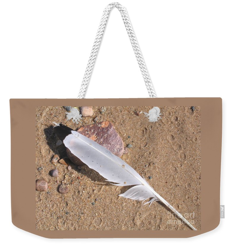 Beach Weekender Tote Bag featuring the photograph Feather On Damp Sand by Ann Horn