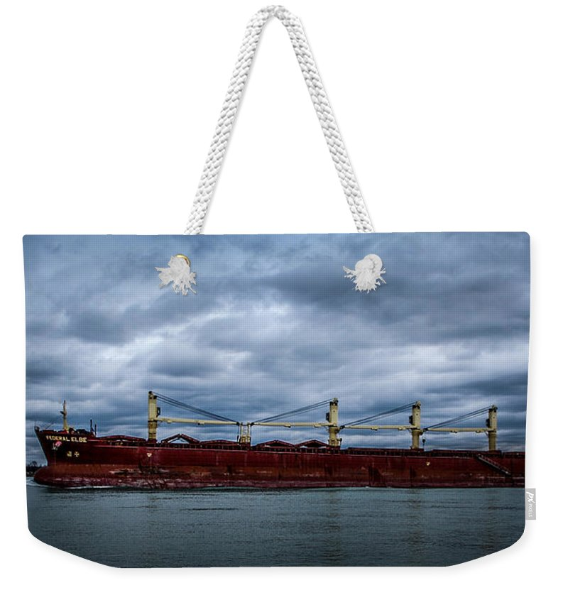 Ship Weekender Tote Bag featuring the photograph Federal Elbe by Ronald Grogan