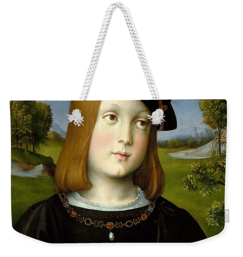 Francesco Francia Weekender Tote Bag featuring the painting Federigo Gonzaga by Francesco Francia