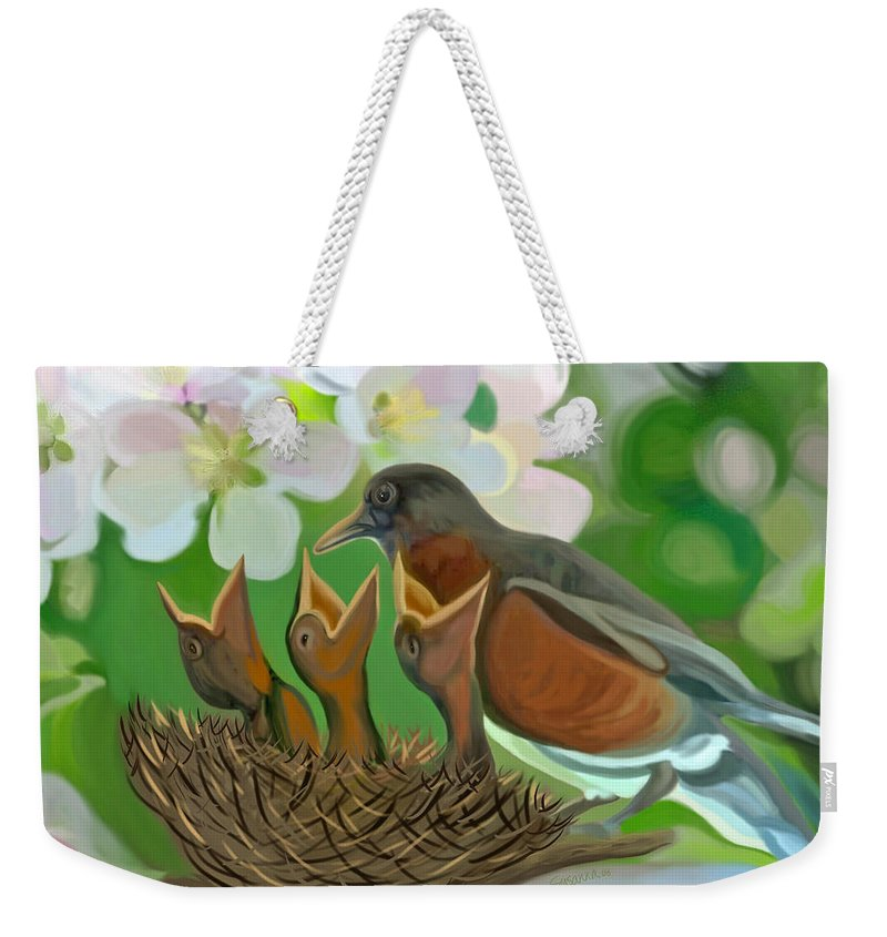 Birds Weekender Tote Bag featuring the painting Feed Me Momma by Susanna Katherine