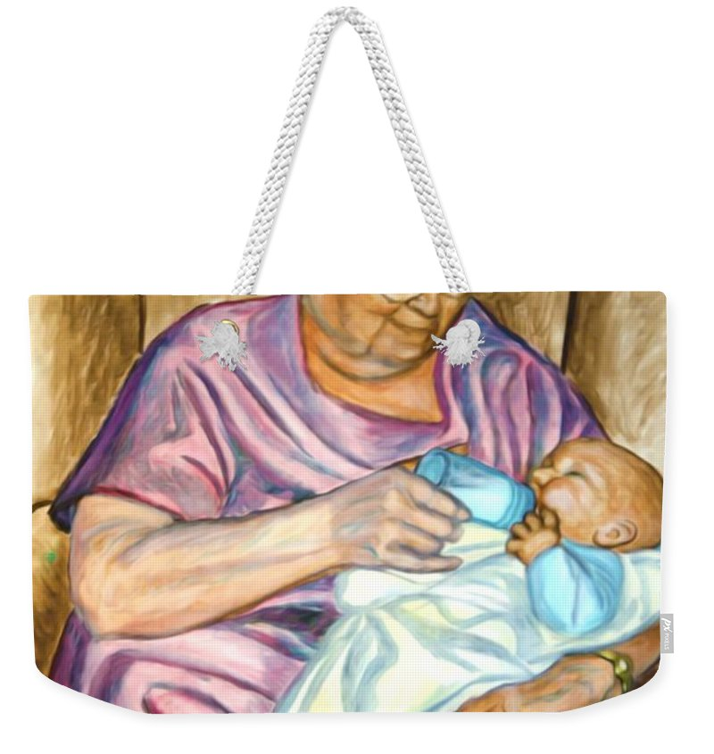 Water Weekender Tote Bag featuring the photograph Feeding Baby 1 by Jeelan Clark