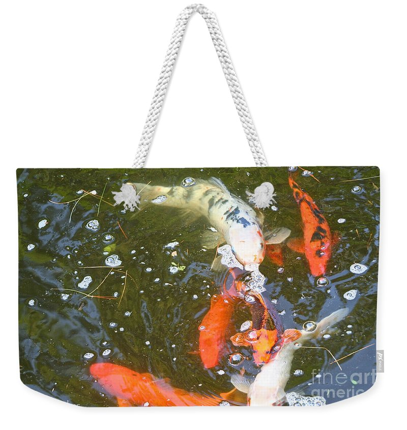 Koi Weekender Tote Bag featuring the photograph Feeding Time by Susan Herber