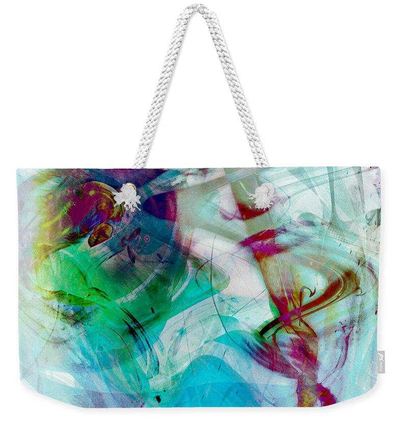 Feeling Abstract Weekender Tote Bag featuring the digital art Feeling Abstract by Linda Sannuti
