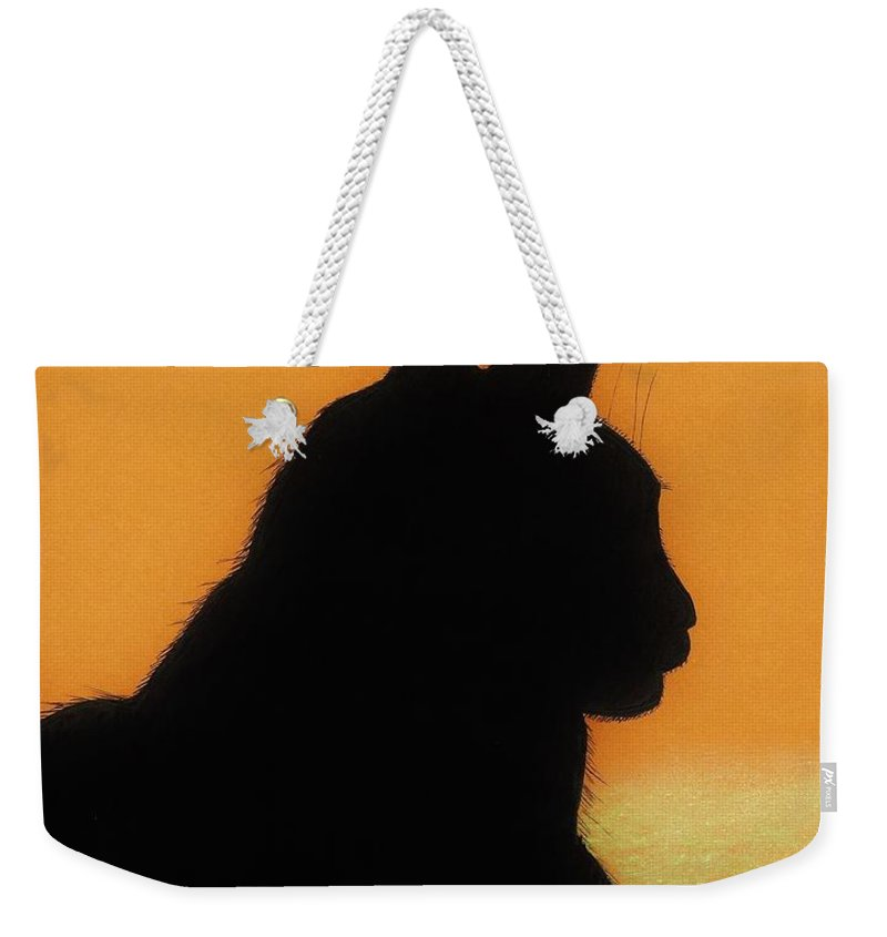 Cat Weekender Tote Bag featuring the drawing Feline - Sunset by D Hackett