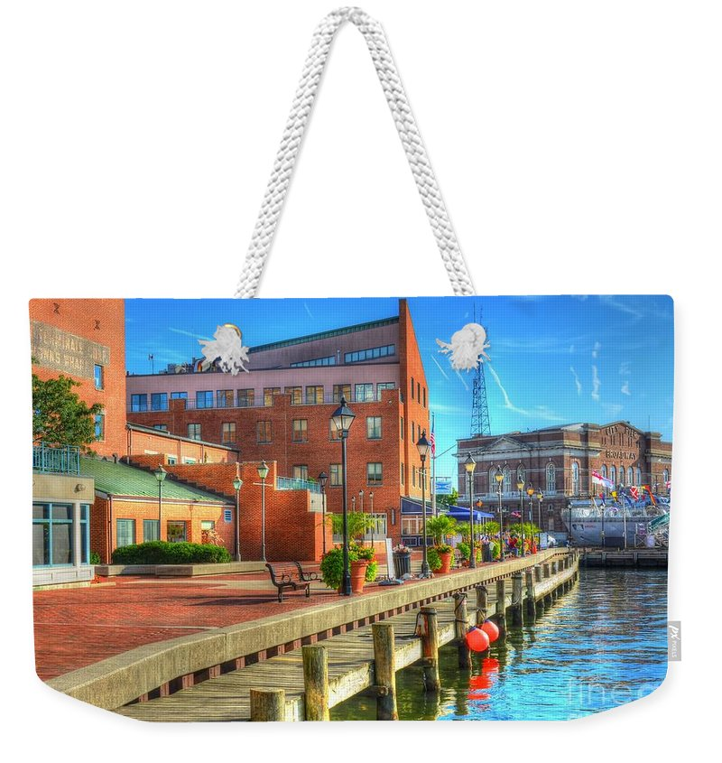 Fells Point Weekender Tote Bag featuring the photograph Fells Point Dock by Debbi Granruth