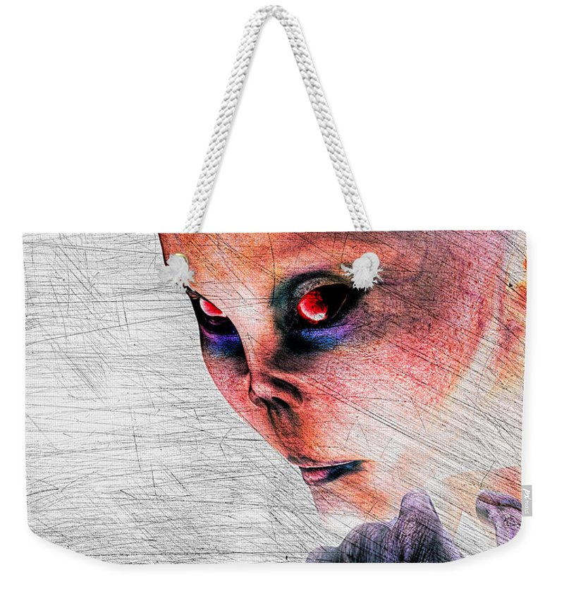 Alien Abduction Weekender Tote Bag featuring the digital art Female Alien Portrait by Bob Orsillo