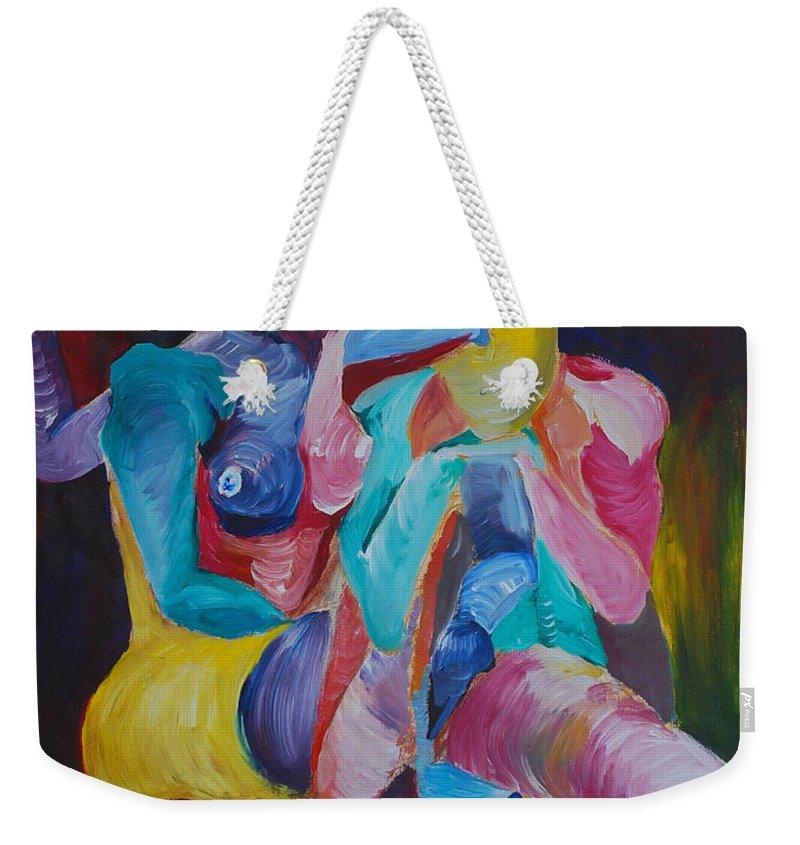 Feminine Art Weekender Tote Bag featuring the painting Female Art by Catt Kyriacou