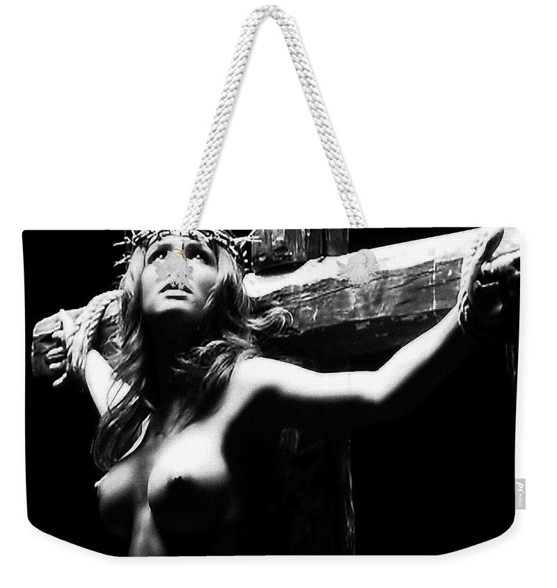 Female Christ Weekender Tote Bag featuring the photograph Female Christ Black And White by Ramon Martinez
