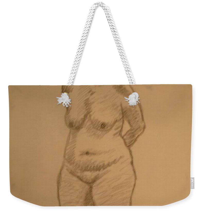 Genio Weekender Tote Bag featuring the mixed media Female Croquis by Genio GgXpress