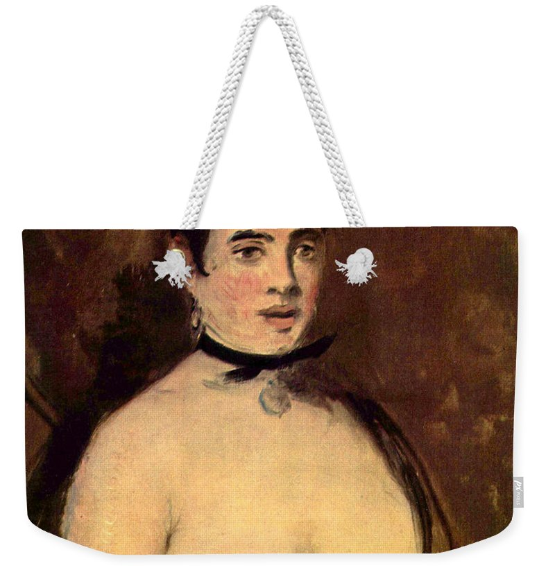 Old Masters Weekender Tote Bag featuring the digital art Female Nude by Edouard Manet