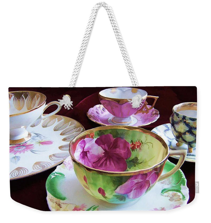 Bone Weekender Tote Bag featuring the photograph Feminine High Society Ladies Tea Party by Kathy Clark