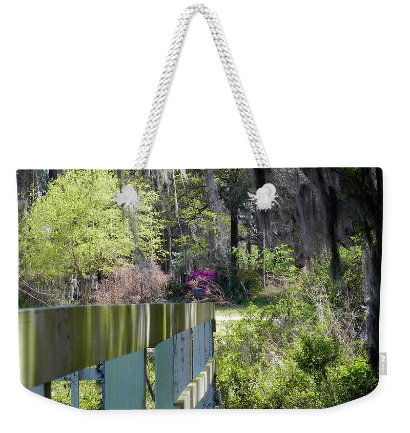 Fence Weekender Tote Bag featuring the photograph Fence Points The Way by Patricia Greer