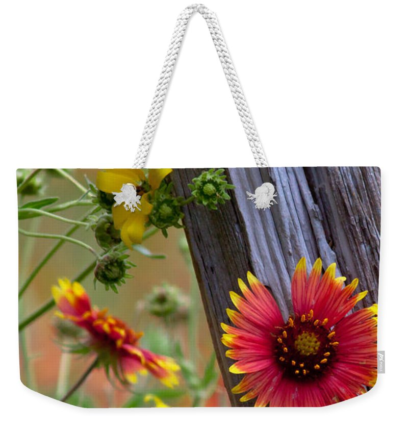 Plants Weekender Tote Bag featuring the photograph Fenceline Wildflowers by Robert Frederick