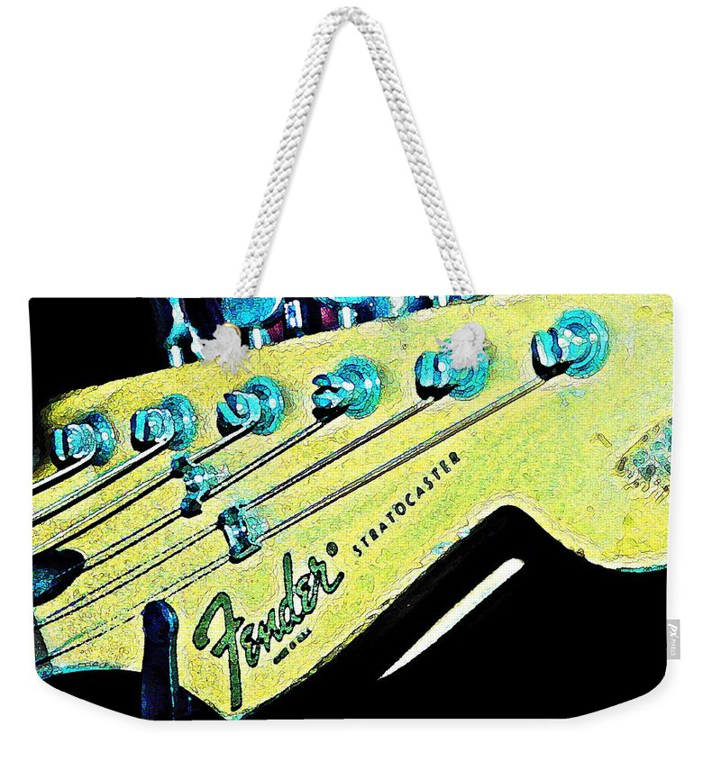 Fender Weekender Tote Bag featuring the photograph Fender Head In Watercolor Photo by Chris Berry