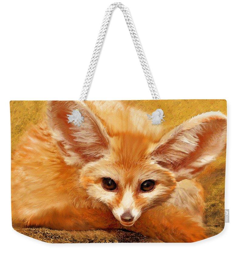 Fox Weekender Tote Bag featuring the digital art Fennec Fox by Jane Schnetlage