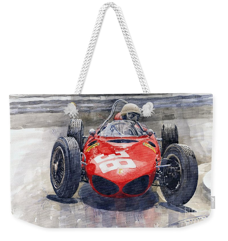 Watercolor Weekender Tote Bag featuring the painting Ferrari 156 Sharknose Phil Hill Monaco 1961 by Yuriy Shevchuk