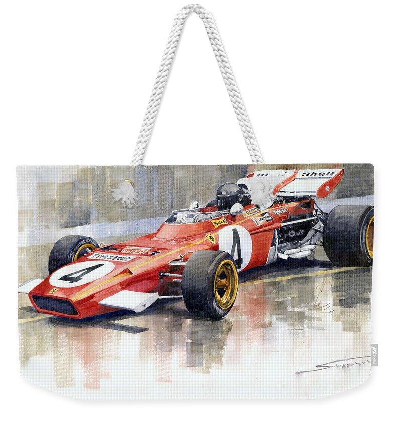 Watercolor Weekender Tote Bag featuring the painting 1971 Ferrari 312 B2 1971 Monaco GP F1 Jacky Ickx by Yuriy Shevchuk