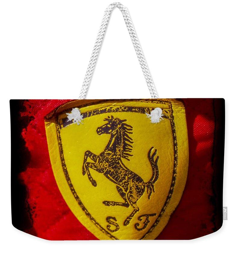 Ferrari Weekender Tote Bag featuring the photograph Ferrari Emblem by Jose Bispo